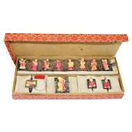 Chinese Export Immortals Set Bone Silver Filigree Bracelet Brooch Earrings Ring Box