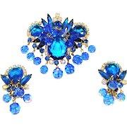Vintage Juliana Pin Pendant Earrings Blue Rhinestones Crystal Dangles D&E Book Set