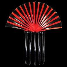 Art Deco Celluloid Comb Black Red Huge Sunray Fan