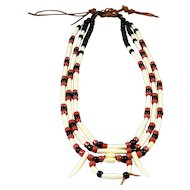 Tribal Necklace Bone Black Rust Bead 3 Strand Rawhide Rustic Look