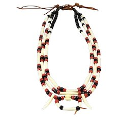 Tribal Necklace Bone Black Rust Bead 3 Strand Rawhide Rustic Look
