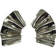 Vintage 1980s Dauplaise Earrings Huge Silver Tone Ruffled Fans