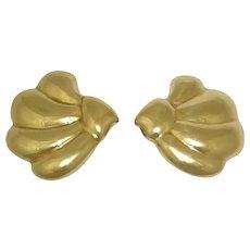 14K Earrings Yellow Gold Fan Clam Shell 12 Grams