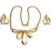 Vintage Trifari Necklace Earrings Gold Trifanium Baguettes Vendome Ad Patent