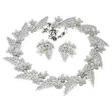 Vintage Trifari Enamel Necklace Earrings Flowering Fern 1958 AD