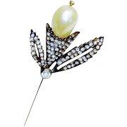 Vintage Chanel Novelty Stick Pin Faux Pearl Diamante Rhinestone