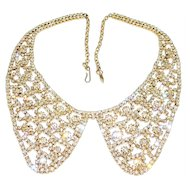 Vintage Diamante Rhinestone Necklace Peter Pan Collar Gold Tone