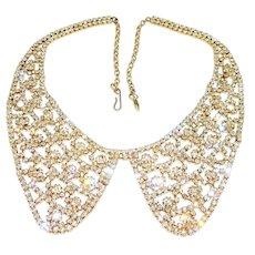 Vintage Diamante Rhinestone Necklace Peter Pan Collar Gold Tone