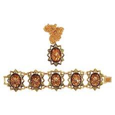 Emmons Molded Glass Gold Tone Bracelet Pendant Book Set Hostess Ad