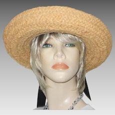 Scala Natural Straw Hat Black Grosgrain Ribbon Bow