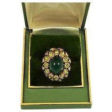 Vintage Ring Green Bullet Cabochon Peridot Rhinestones Gold Tone