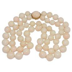 Vintage Angel Skin Coral Necklace 14K Clasp 212 Grams 2 Strands