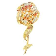 Vintage 14K Diamond Day Night Brooch Gold Flower Fur Clip Pin