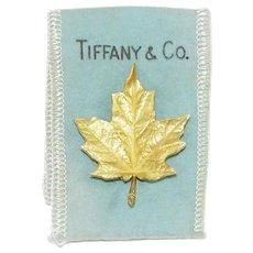 Vintage Tiffany 18K Brooch Gold Maple Leaf Clip Pin