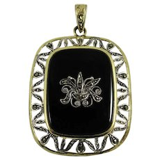 Vintage Art Deco Germany Sterling Onyx Marcasite Pendant