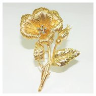 Vintage Karbra 14K Diamond Flower Brooch