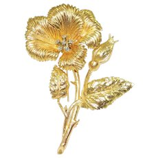 Vintage Karbra 14K Diamond Flower Brooch - Red Tag Sale Item