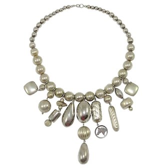Vintage Necklace Silver Tone Beads Dangles Charms