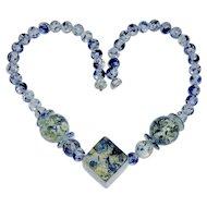 Vintage Confetti Lucite Necklace Blue