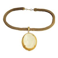 Vintage Haskell Cameo Necklace Frosted Glass Mesh Chain