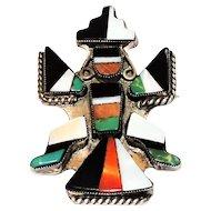Vintage Zuni Knifewing Brooch Sterling Inlaid Stones
