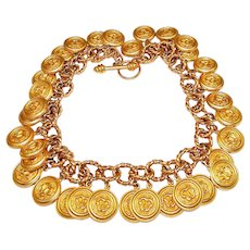 Vintage Mish NY Lion Charm Necklace Gold Plated