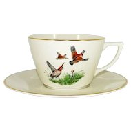 Pickard China Game Birds Hunting Dog Cup Saucer Hand Painted Abercrombie Fitch