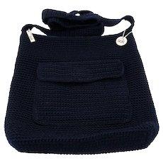 The Sak Crochet Navy Blue Purse Cross Body Shoulder Bag