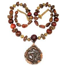 Multi Stone Necklace Copper Dragon Snake Pendant