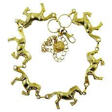 Vintage Gold Tone Horse Necklace Equine Belt