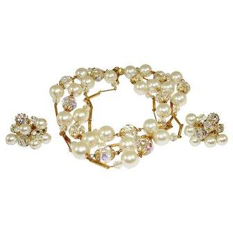 Vintage Faux Pearl Crystal Sautoir Necklace Earrings