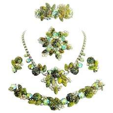 Vintage Juliana Necklace Bracelet Brooch Earrings Clamper Green Harlequin Rhinestone D&E Book