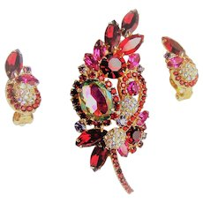 Juliana Heliotrope Brooch and Earrings Pom Pom Rhinestone Book Set