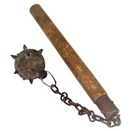 Old Mace Flail Iron Wood Chain Weapon