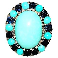 Vintage Turquoise Sapphire 14K Gold Ring