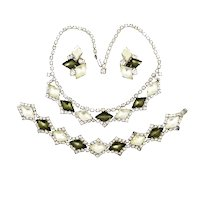Vintage Black and White Frosted Satin Glass Necklace Bracelet Earrings