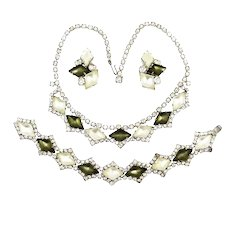 Vintage Frosted Satin Glass Necklace Bracelet Earrings
