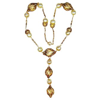 Vintage Victorian Revival Necklace Fx Pearl Golden Filigree Cages