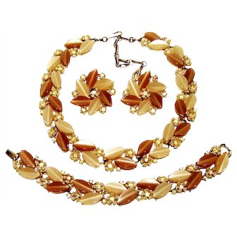 Vintage Coffee Cream Lisner Lucite Rhinestone Necklace Bracelet Earrings