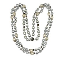 Vintage Haskell Glass Pearl Necklace Baroque Grey Cream Rondelles