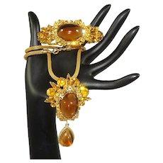 Vintage Juliana Clamper Bracelet Necklace Pin Pendant Huge Topaz Cabochons D&E Book Set