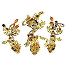 Vintage Lunch at The Ritz Retired Leapin Lizard Brooch Pendant Earrings Set Orig Card