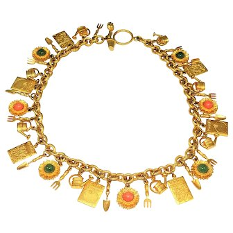 Vintage Mish NY Garden Charm Necklace Gold Plated
