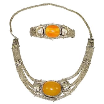 Vintage Beeswax Amber Silver Tone Necklace Bracelet
