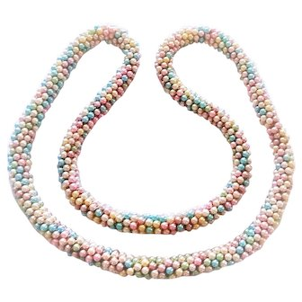Vintage Woven Faux Pearl Pink Blue Green White Twisted Multi Strand Beads