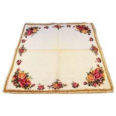 6 Vintage Irish Linen Cotton Napkins Flower Borders