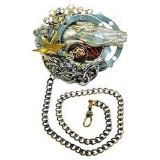 Vintage John Wind Steampunk Horse Brooch Watch Chain Maximal Art Collage Pin