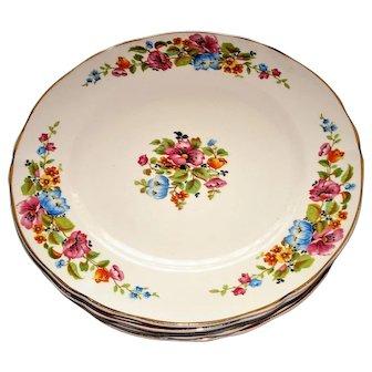 W S George 6 Argosy Floral Plates Ivory USA