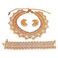 Vintage Monet Necklace Bracelet Earring Set  AD Book
