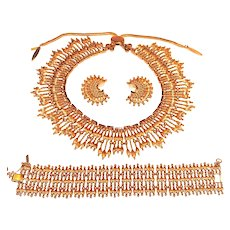 Vintage Monet Bolero Necklace Bracelet Earring Set Golden Bead